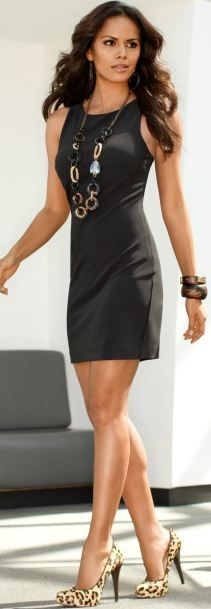Boston Proper - High-neck travel dress. Love the little black dress with those shoes