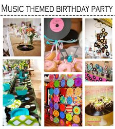 Records (or CD's) as balloon weights. Record (or CD's) cupcake stands, Record (CD) table runner
