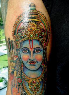 The Hindu deity, Rama, tattooed on Krishna Venkatesh.