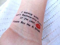 15 Bachelorette Party Sorority Party Temporary Tattoo by EARinkFun