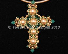 St. Joan of Lorraine Cross Pendant from the Crosses of Byzantium Collection designed by Gwen Lane & Alisa Neal Visit: thebeadnikdivas@etsy.com