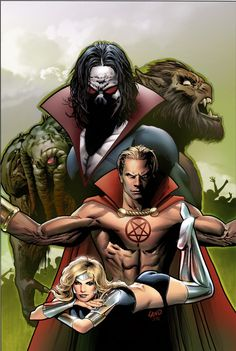 Man-Thing, Morbius, Werewolf by Night, and Son of Satan by Greg Land