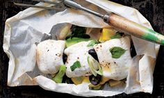 Sole in a bag with courgettes and black olives - Bryn Williams