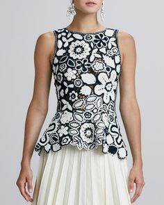 Beautiful! Oscar de la Renta Hand-Crocheted Floral Peplum Blouse