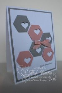handmade card ... Hexagon Honeycomb Punch Art with Deb Valder ... gray and dusty pink punched hexagons ... each with a small heart punched out ... clean lines  and look ... great card!! ... Stampin' Up!