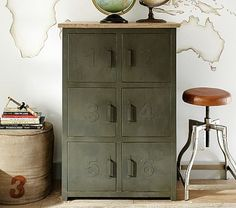 """What about """"A...Z"""" on a two drawer cabinet? Metal and Wood Numbers Cabinet #pbkids"""