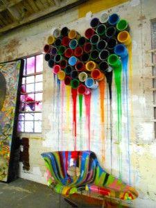 wall art, the princess diaries, art studios, paint cans, color, can art, garage art, rainbow, loft apartments
