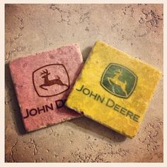 John Deere Coasters  set of 4  Pink and/or by ChelseaLouForYou, $20.00