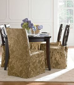 Sure Fit Slipcovers: New Arrival: Two-Tone Matelassé Damask - shown: Long Dining Chair Covers & Dining Chair Skirts