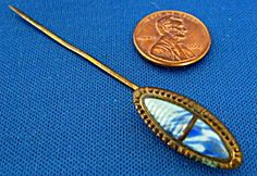 Stick Pin Lapel Pin Blue And White Marble Glass Hatpin