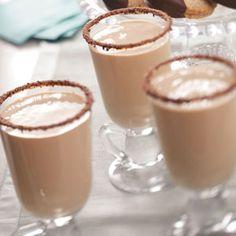 Irish Creme Punch.. my version 1 pint vanilla ice cream, melted 1 quart half & half 3/4 c Irish Whiskey 1/3 c condensed milk 1/4 c chocolate syrup 1 tsp instant coffee 1 tsp vanilla Grated chocolate to rim glasses Combine the first 7ingredients; beat until smooth. Pour into punch bowl. Rim glasses in chocolate syrup, then dip in grated chocolate. Creme Drinks, Irish Creme, Chocolates Syrup, Coffee Recipe, Vienne Cookies, Christmas Cookies Recipe, Drinks Alcohol, Condensed Milk, Drinks Recipe