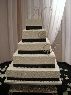 simple black and white wedding cake