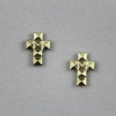 Pyramid Stud Cross Earrings, SW249