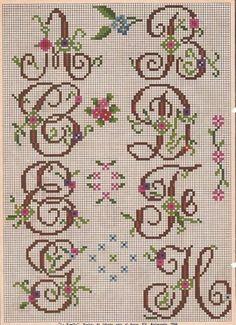 letter, cross stitch, ponto cruz