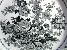 """★ """"Tuscan Rose"""" black toile transferware 9"""" fluted dish, circa 1841-1848. Identical piece on display in the Brooklyn Museum."""