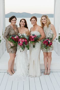 beaded bridesmaid dresses, photo by David Campbell Imagery http://ruffledblog.com/elandra-resort-wedding #bridesmaiddress