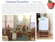 K. Angel has come-up with some unique & charming classroom decorations! Students display their artwork on a clothes line with a fun DJ created sign in the middle. There is also a sunny & cheerful welcome sign at her door.  DJ's Back to School Teacher Contest 2014