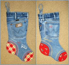 Denim Jeans Christmas Stockings Tutorial -- would be so cute to use a child's old jeans then embroider it with their name! Ideas, Denim Jeans, Blue Jeans, Cowboy Christmas, Country Christmas, Denim Stockings, Christmas Stockings, Christmas Trees, Old Jeans