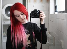 Bright red ombre alternative hair