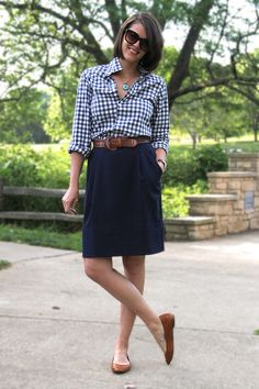 Love the classic brown leather belt and flat shoes with the gingham shirt and navy skirt!    The Great Gingham Shirt via whatiwore.tumblr.com by What I Wore, via Flickr
