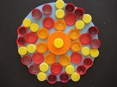 forest louvr, bottle caps, recycl plastic, plastic top, art, lake, bottl cap, radial design, mandala