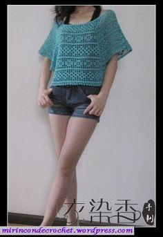 Blusa en filet con mangas murciélago… « Mi Rincon de Crochet