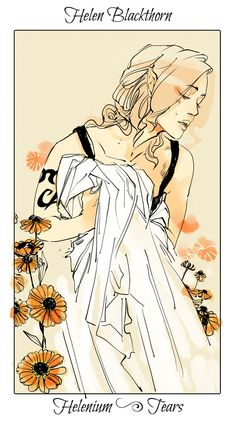 Helen weeps for her family, The language of flowers (picked by C.Clare, art by C.Jean)
