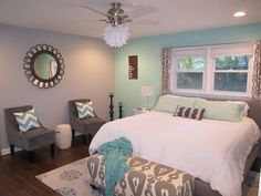 color combos, color schemes, aqua and gray bedroom, master bedrooms, teal painting, guest rooms, accent walls, gray paint, home color scheme