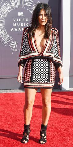 Kim Kardashian in a beaded dress at MTV VMAs 2014