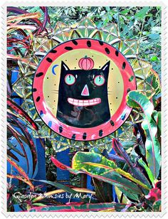 Halloween Cat Plate Flower Garden Stake  by GardenWhimsiesByMary