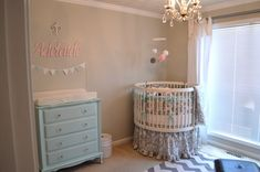 Sweet Vintage Baby Nursery - love the pale pink and blue accents! #nursery #vintage #babygirl