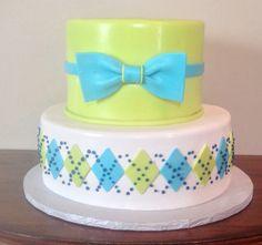 little man argyle bow tie baby shower cake