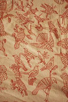 Red Work Birds