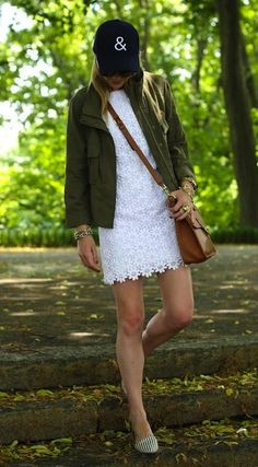 jacket, urban outfitters, sweater dresses, dream closet, street styles, white lace, baseball caps, lace dresses, hat