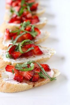 Strawberry Bruschetta... strawberries and a drizzle of balsamic... - Click image to find more fruits and vegetables Pinterest pins