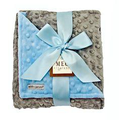 Blue & Gray Minky Dot Baby Boy Blanket. $36.00, via Etsy.