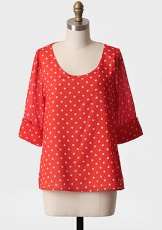 New Day polka dot blouse in red.