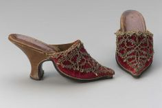 1720s-1740s, Europe - Mules - Silk velvet with silk and metallic bobbin lace and braid, leather lining, heel and sole