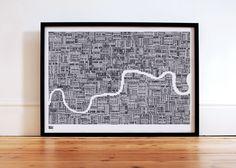 London Type Map in Sheer Slate  decorative screen by boldandnoble