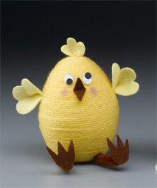 yarn crafts, egg crafts, easter chick, easter crafts, coffee