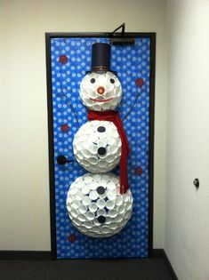 Snowman made with cups on pinterest police officer for 3d snowman door decoration