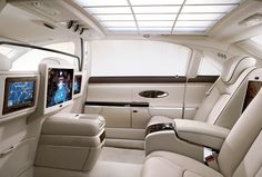 Maybach 62 S Rear Seat Configuration!  Awesome Rolling Office!  I can smell the leather...