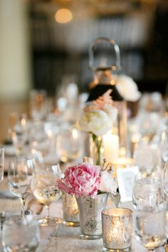 Silver and Pink Centerpiece | photography by http://www.kinawicks.com/