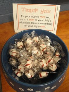 Love this! I always put out mints for conferences, but what a great idea to add the card! Parent treat for open house or conferences