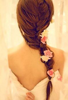 french braids, rose, bridesmaid hair, long hair, plait, flowers, wedding hair styles, wedding hairstyles, flower hair