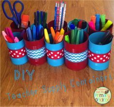 Owl-ways Be Inspired: Show Us How You Use It {Aluminum Cans} - DIY Teacher Desk Organizer