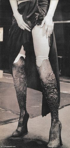 """""""And you know, the fact is, nobody knew that they were prosthetic legs. They were the star of the show - these wooden boots peeking out from under this raffia dress - but in fact, they were actually legs made for me.""""        Aimee Mullins, on her look in the Alexander McQueen S/S 1999 show.  0.0"""