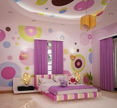 tween girl wall art with large painted circles