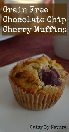 Chocolate Chip Cherry Muffins (Grain Free, Dairy Free, Nut Free) - Gutsy By Nature