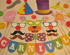 PDF - Circus / Carnival photo booth props/decorations/craft - printable DIY on Etsy, $3.95 party favors, photo booth props, carniv photo, parties, carnivals, photo props, photobooth, photo booths, circus party